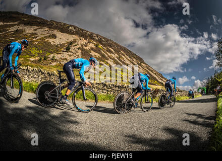 Whinlatter, Cumbria, UK. 6th September 2018. Team Movistar on a training ride to check out the course for stage 5 of the Tour of Britain 2018. Credit: STEPHEN FLEMING/Alamy Live News - Stock Photo
