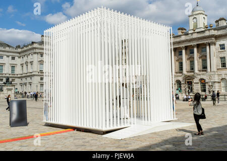 London, UK. 6th September 2018. International design teams from 40 countries are exhibiting interactive design installations on the theme of Emotional States at Somerset House during the London Design Biennale 2018. The exhibition runs from 4-23 September. Pictured: Housemotion (Turkey). Tabanhoglu Architects' installation considers the meaning of home in an age of increasingly transient living. Credit: mark phillips/Alamy Live News - Stock Photo