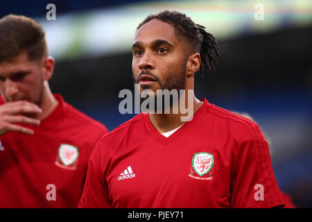 Cardiff City Stadium, Cardiff, UK. 6th Sep, 2018. UEFA Nations League football, Wales versus Republic of Ireland; Ashley Williams of Wales during warm up Credit: Action Plus Sports/Alamy Live News - Stock Photo