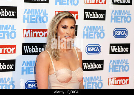London, UK. 6th September, 2018. Ferne McCann, Animal Hero Awards, Grosvenor House Hotel, London, UK, 06 September 2018, Photo by Richard Goldschmidt Credit: Rich Gold/Alamy Live News - Stock Photo