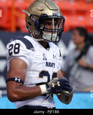 September 1, 2018 - warms up prior to a during a game between the Hawaii Rainbow Warriors and the Navy Midshipmen at Aloha Stadium in Honolulu, HI - Michael Sullivan/CSM - Stock Photo