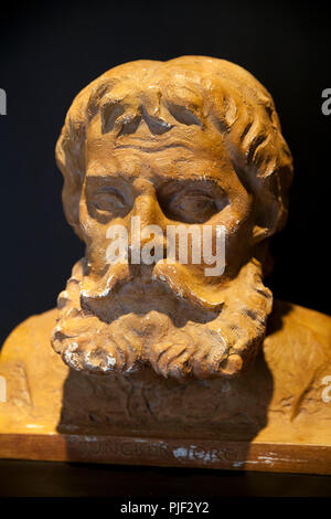 Mansfeld, Germany. 30th Aug, 2018. A bust of 'Junker Joerg', an alias of Martin Luther, which he gave himself during his time at the Wartburg, can be seen in 'Luther's Parental Home Museum'. The museum in Mansfeld (Mansfeld-Suedharz district) is to become better known with a marble competition. (on dpa 'Murmelwettbewerb soll für 'Museum Luthers Elternhaus' advertise' from 07.09.2018) Credit: Johannes Stein/dpa-Zentralbild/dpa/Alamy Live News - Stock Photo