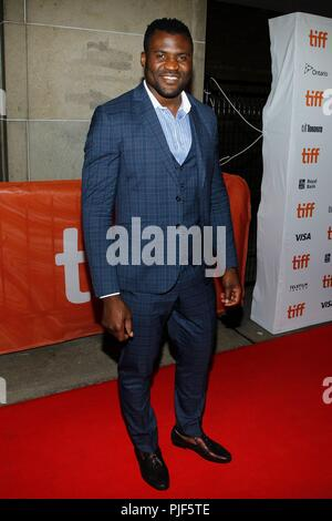 Toronto, Canada.. 6th Sep, 2018. Francis Ngannou at arrivals for THE PREDATOR Premiere at Toronto International Film Festival 2018, Ryerson Theatre, Toronto, Canada. September 6, 2018. Credit: JA/Everett Collection/Alamy Live News - Stock Photo