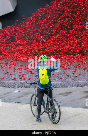 Manchester, UK.7th Sept 2018. The iconic poppy sculpture Wave by artist Paul Cummins and designer Tom Piper at IWM North. This is the final presentation of Wave as part of 14-18 commemoration. It is the first time that Manchester has hosted one of these artworks. The installation 'Blood Swept Lands and Seas of Red' poppies an original concept by artist Paul Cummins and installation designed by Tom Piper. The installation was originally at HM Tower of London where 888,246 poppies were displayed. Credit: MediaWorldImages/Alamy Live News - Stock Photo