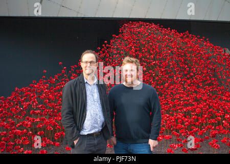 Manchester, UK. 7th Sept 2018. The iconic poppy sculpture Wave by artist Paul Cummins and designer Tom Piper at IWM North. This is the final presentation of Wave as part of 14-18 commemoration. It is the first time that Manchester has hosted one of these artworks. The installation 'Blood Swept Lands and Seas of Red' poppies an original concept by artist Paul Cummins and installation designed by Tom Piper. Credit: MediaWorldImages/Alamy Live News - Stock Photo