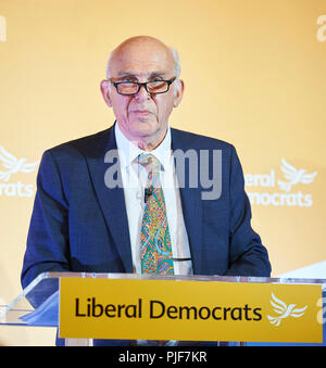 London, UK. 7th Sept 2018. Liberal Democrat leader, Sir Vince Cable, launching the reform proposals for the Liberal Democrat Party in the David Lloyd George Room at the National Liberal Club, London. 7th September, 2018. Credit: Thomas Bowles/Alamy Live News - Stock Photo