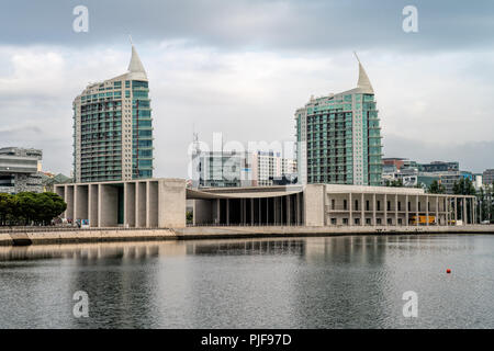 Lisbon Modern Buildings in Park of Nations Lisbon Expo 98 Portugal. Sao Gabriel and Sao Rafael twin towers in the Nations Park - Stock Photo