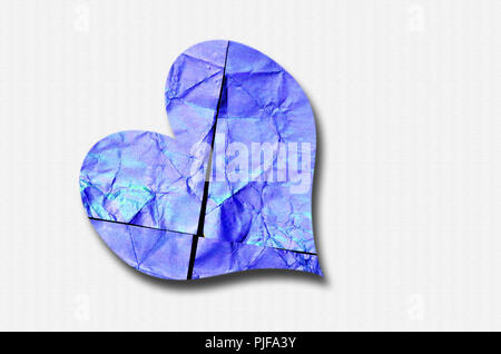 close up of a blue and cyan heart isolated on white background, flat lay - Stock Photo