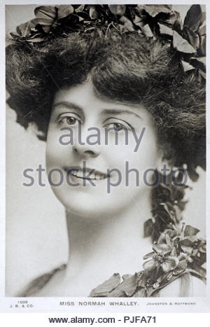 Normah Whalley portrait, was an Australian theatre and film actress active in the United States and Britain, vintage real photograph postcard from 1905 - Stock Photo