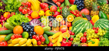 Assorted fresh ripe fruits and vegetables. Food concept background. Top view. Copy space. - Stock Photo