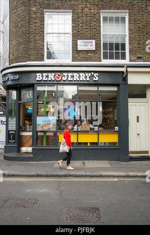 Ben & Jerry's ice cream parlor chain on Wardour Street, Soho, London, W1, UK - Stock Photo