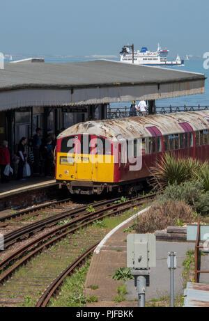 an isle of wight railway island line mainline train service at ryde esplanade railway station. - Stock Photo
