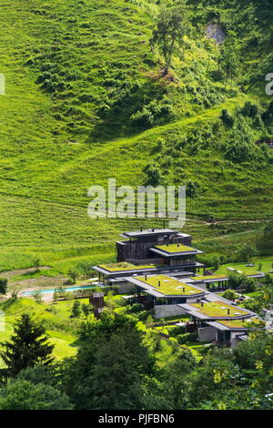 Green living sod roofs covered with vegetation, aerial view, apartments - Stock Photo