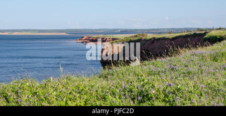 Part of Cavendish Beach is visible in the distance across New London Bay. - Stock Photo