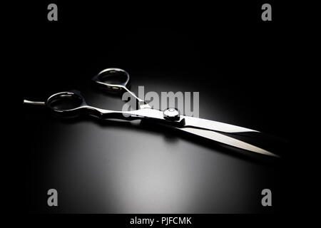 Hairdressing scissors isolated on black. Close up of barbershop and salon equipment. - Stock Photo