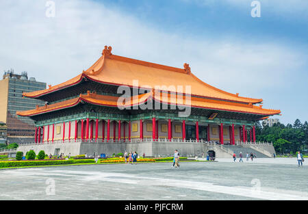 March 31, 2018. Taipei, Taiwan.  Tourists visiting liberty square near the national theater hall in the city of Taipei, Taiwan. - Stock Photo