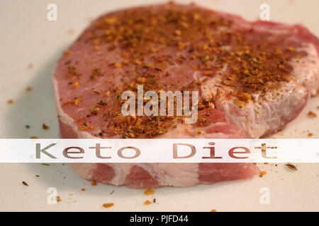 Raw meat ready for grilling with some seasoning on top of them - Stock Photo