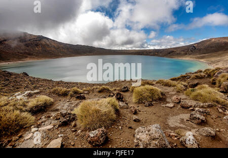 View along the Tongariro Alpine trail Crossing in New Zealand - Stock Photo