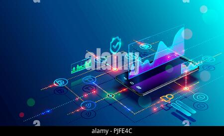 Application of Smartphone with business graph and analytics data on isometric mobile phone. Analysis trends and financial strategy by using infographic chart. Vector concept illustration - Stock Photo