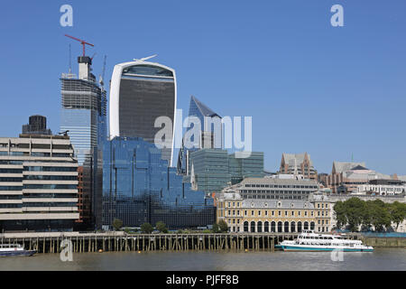 City of London Skyline from the River Thames showing the 'Walkie-Talkie' building, centre, and the old Billingsgate Fish Market, right. - Stock Photo
