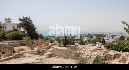 CARTHAGE, TUNISIA - JULY 19 2018: View of Tunis from the ruins of Carthage, Tunisia, Africa - Stock Photo