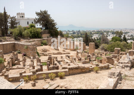 CARTHAGE, TUNISIA - JULY 19 2018: The layout of the Byrsa hill, the Ruins of Ancient Carthage, Tunisia, Africa - Stock Photo