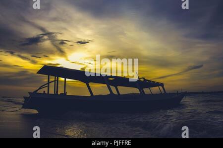 Colourful Sunset over Gili Air, Lombok, Indonesia - Stock Photo