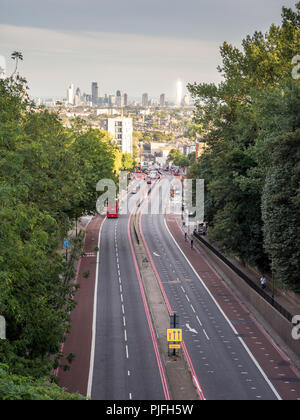 London, England, UK - September 1, 2016: The controversial Archway Road dual carriageway, driven through Islington neighbourhoods of North London, wit - Stock Photo