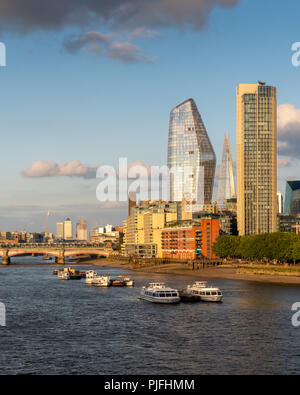 London, England, UK - June 12, 2018: Skyscrapers and landmarks including The Shard, One Blackfriars, South Bank Tower and the Oxo Tower rise on the So - Stock Photo