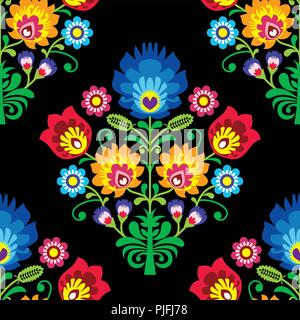Seamless folk art vector pattern - Polish traditional repetitive design with flowers - wycinanki lowickie. Retro floral background, Slavic colorful te - Stock Photo