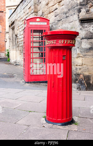 Post box at the Old city Wall and Gateway. Warwick a town on the River Avon, in England's West Midlands region - Stock Photo