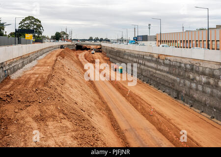 Adelaide, Australia - January 10, 2018: Torrens Road to River Torrens Project under construction view along South Rd on a day. New six-lane 4km roadwa - Stock Photo