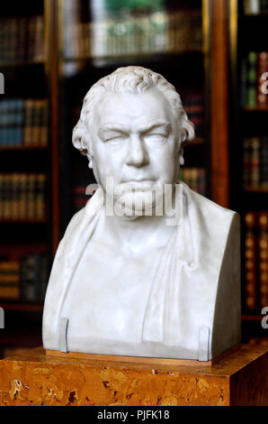Marble bust of Sir Joseph Banks (1743-1820) Botanist, Trustee and benefactor of the British Museum (by Sir Charles Chantrey: 1822) British Museum, Blo - Stock Photo