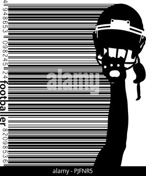 football helmet and hand silhouette. Background and text on a separate layer, color can be changed in one click. Rugby. American football - Stock Photo