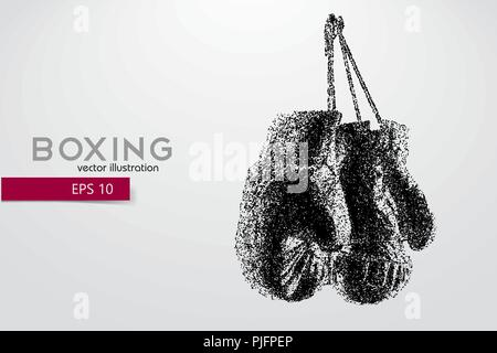 Boxing gloves from particles. Background and text on a separate layer, color can be changed in one click. Boxer. Boxing. Boxer silhouette - Stock Photo