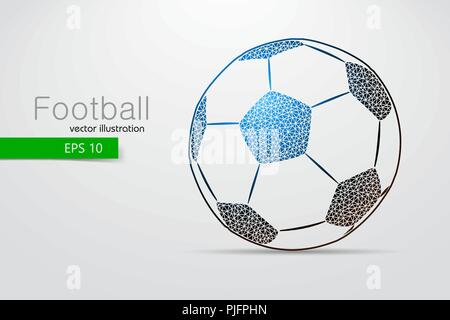 silhouette of a soccer ball from triangles. Text and background on a separate layer, color can be changed in one click. - Stock Photo