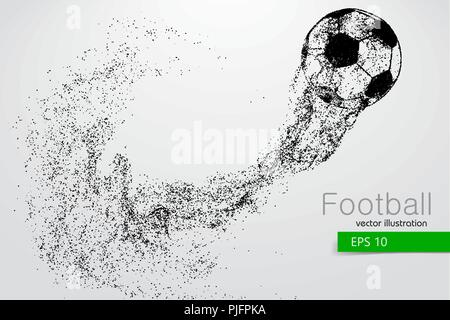 silhouette of a soccer ball from particles. Text and background on a separate layer, color can be changed in one click. - Stock Photo