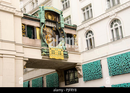 Art Nouveau mechanical clock, Ankerhur, the Anker Clock in Vienna, Austria, built in 1914. Stock Photo