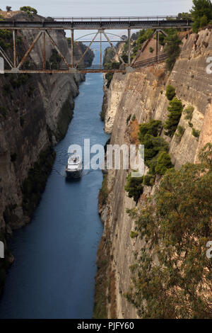 Peloponnese Greece Boat In Corinth Canal - Stock Photo