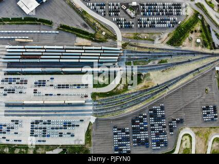 Aerial view of the Ford Motor Company automotive company in the Hermosillo industrial park, Sonora Mexico. Hundreds of new cars. train. Trasnport. Car - Stock Photo
