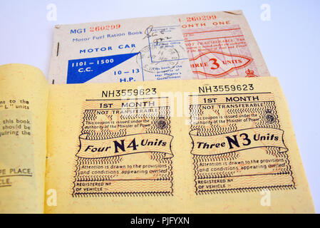 Motor fuel ration book. Petrol rationing. Fuel rations. Coupons for the purchase of motor car fuel, petrol, during post war rationing. Austerity - Stock Photo