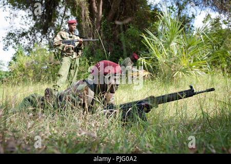 Kenyan security personnel patrol in the Tana Delta near the Kenyan coast, September 20, 2012. - Stock Photo