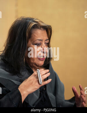 British architect Zaha Hadid speaks during a media event formally announcing the winners of the Praemium Imperiale, a global arts prize that is awarde - Stock Photo
