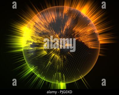dark earth globe with glowing details and light rays. 3d illustration - Stock Photo