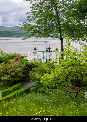 Portmeirion garden path leading to a deck with a view of River Dwyryd, North Wales, UK. - Stock Photo