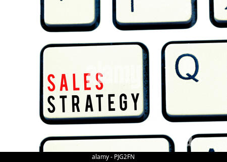 Writing note showing Sales Strategy. Business photo showcasing Plan for reaching and selling to your target market Marketing. - Stock Photo