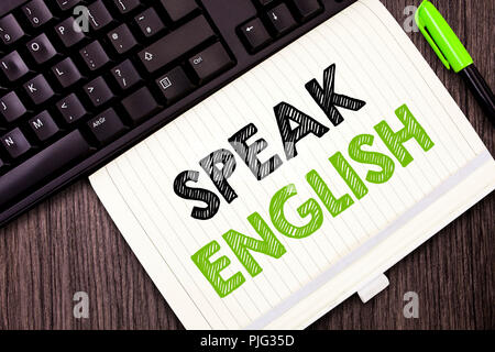 Text sign showing Speak English. Conceptual photo Study another Foreign Language Online Verbal Courses. - Stock Photo