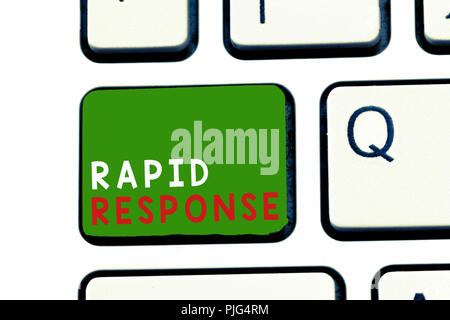 Text sign showing Rapid Response. Conceptual photo Medical emergency team Quick assistance during disaster. - Stock Photo
