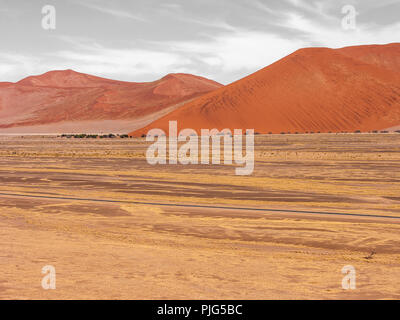 View from Dune 45, Namib desert in Namibia, Enchanted landscapes - Stock Photo