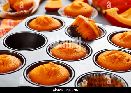 close-up of freshly baked homemade sweet pumpkin muffins in a baking mold on a rustic wooden table, delicious autumn dessert for halloween or potluck  - Stock Photo